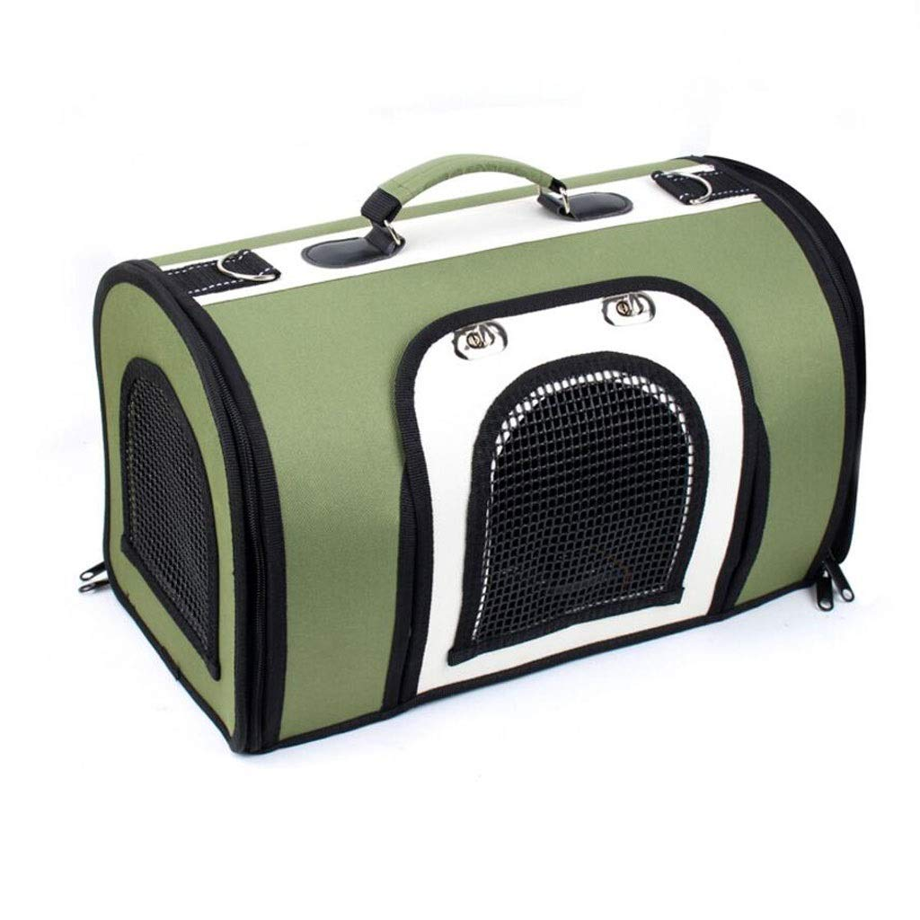 Green 382225cm Green 382225cm FJH Portable Pet Box Folding Cage Carrying Diagonal Cat And Dog Portable Travel Transport Car Out Of Consignment 3 colors (color   Green, Size   38  22  25cm)