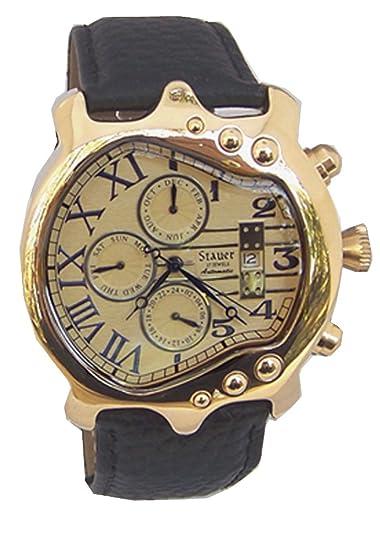 stauer Fusible de oro Guitarra Reloj para hombre multifunción automático reloj de pulsera: Amazon.es: Relojes