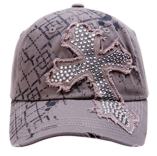 Beaded Cross Cap - TopHeadwear Beaded Cross Distressed Adjustable Baseball Cap - Light Grey