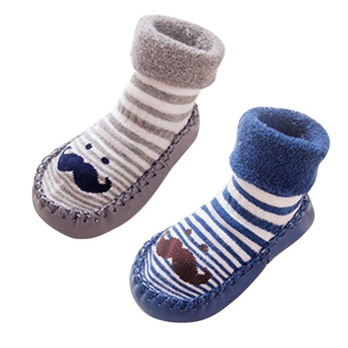 Happy Cherry - Niños Niñas Calcetines Antilizantes Suave Estampado Bigote Lindo Divertido Zapatillas para Invierno de