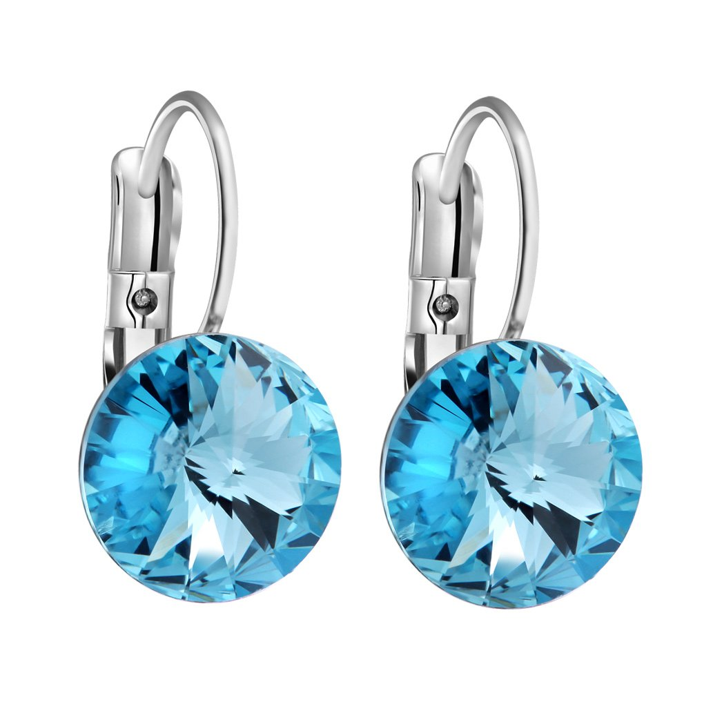 Gorgeous and Special Magical Large Stud Style Sky Blue Sparkling Crystals Silver-Tone Fashion Earrings