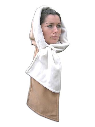 0e5051707c672 Inther Max Echarpe Capuche Reversible Polaire (Beige et Blanc): Amazon.fr:  Vêtements et accessoires