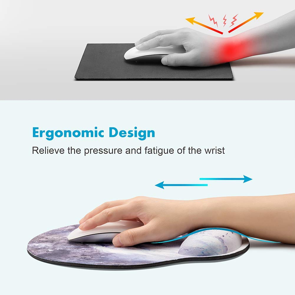 HILUCKI Mouse Pad Ergonomic Mouse Mat with Wrist Support Rest Memory Foam Computer Mouse Pad with Nonslip Rubber Base for Home, Office, Laptop, Gaming (MB-065)