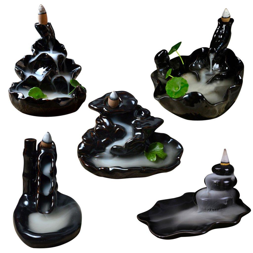 Ceramic Glaze Incense Smoke Cone Burner Backflow Censer Tower Holder #5 MagiDeal