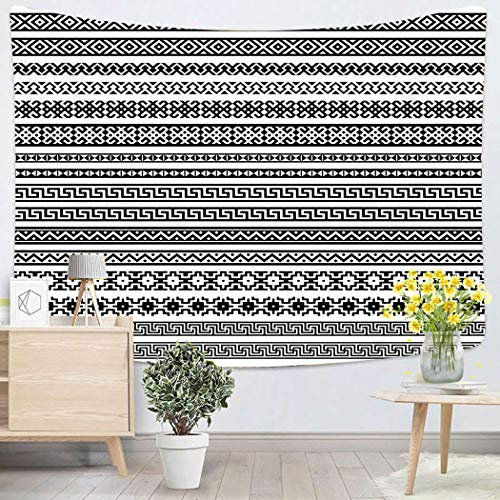 Houlor Tapestry Wall Hanging Border Patterns in Black and White Colors Most Popular Ethnic One Mega Pack Art Chakra Polyester Home Decorations for Bedroom Dorm Decor 60 x 80 Inches