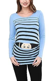 NEU Umstandsmode Langarm T-Shirt Schwangerschaft Oberteile Tops Shirts GR.40-46