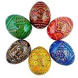 BestPysanky Set of 6 Ukrainian Geometric Wooden Pysanky Easter Eggs