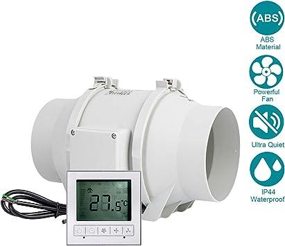 Regelbar Abluftventilator 150mm HG POWER Stark Inline-L/üfter mit Ventilator Intelligenter Drehzahlregler Energiesparend Rohrventilator Leise Kanalventilator Badl/üfter Rohrl/üfter f/ür Bel/üftung