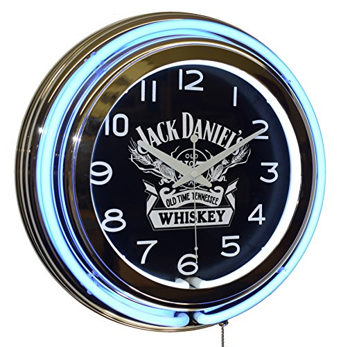 Jack Daniel's Old No. 7 Whiskey Blue Double Neon Advertising Clock