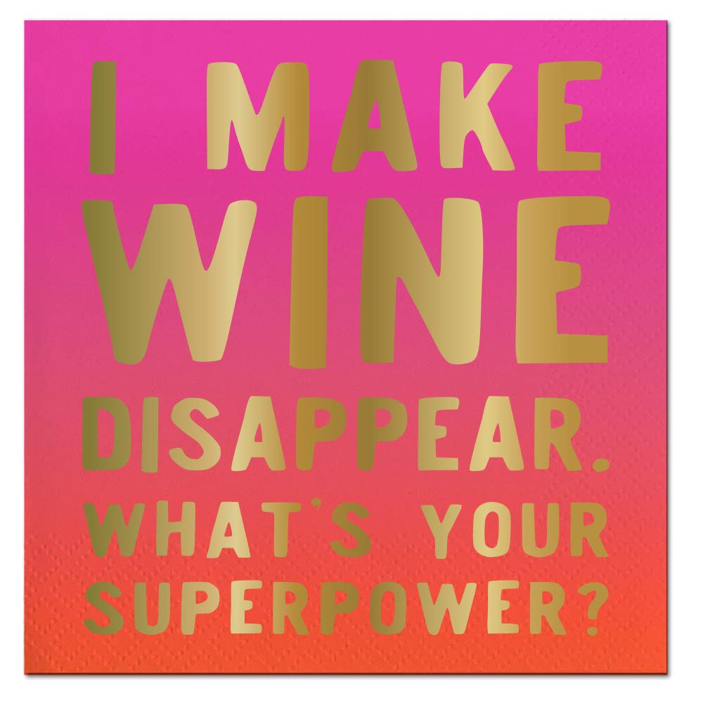 I Make Wine Disappear What's Your Superpower? Pink/Orange With Gold Embossing 40 Count
