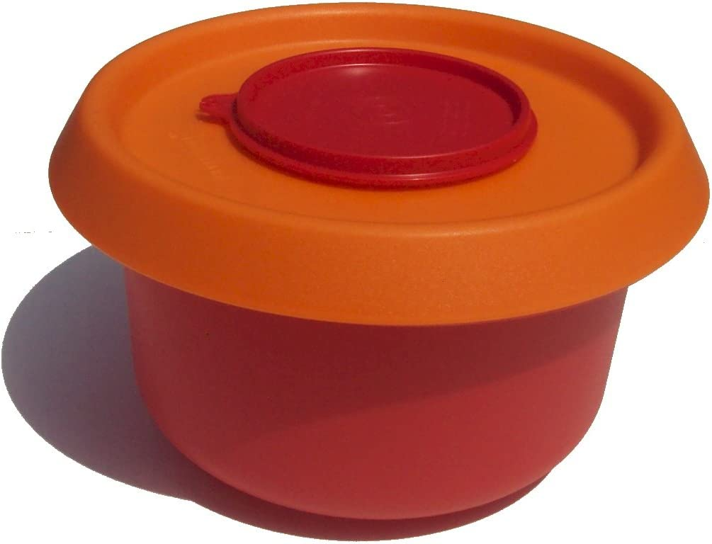 Tupperware 3 Quart Mixing Batter Bowl with Splatter Guard and Pour Spout Seal Red and Orange
