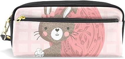Estuche para lápices con diseño de conejo de Pascua, gran capacidad, con doble cremallera duradera para la oficina escolar, estuche para lápices de cosméticos, estuche para artículos de papelería: Amazon.es: Oficina y