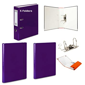 5 x morado - Archivador de palanca + 2 duro carpetas - 1 velcro banda de goma + 1 - 15 colores documento oficina: Amazon.es: Oficina y papelería