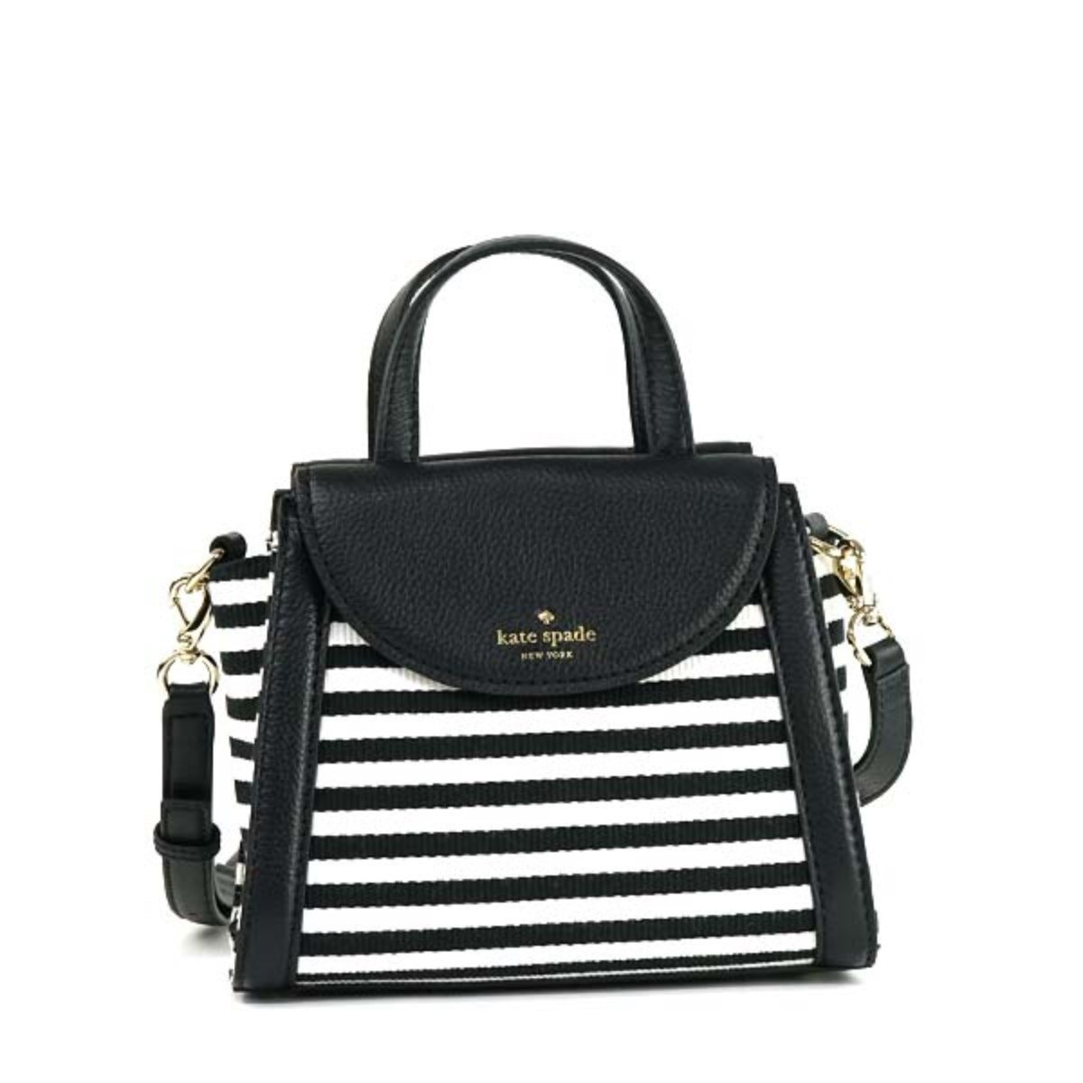 ケイトスペード バッグ ハンドバッグ KATE SPADE COBBLE HILL STRIPE PXRU6742 SMALL ADRIEN 17 BLACK/CREAM 並行輸入品 B01H7KYKZQ