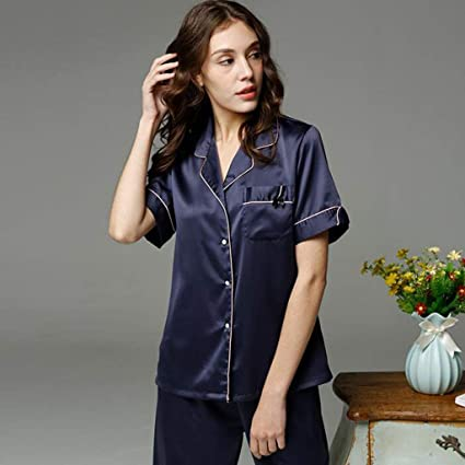 XQY Comfortable Home Pajamas Shop Cotton with Pockets Bathrobe- Female  Spring and Summer Silk Pajamas Polyester Short Sleeve Buttons Cool Bathrobe  Two-Piece ... 49351d0d0