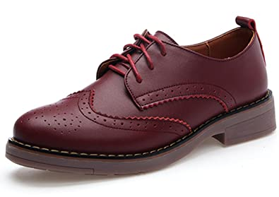 4725e0b7c2 DADAWEN Women's Perforated Lace-up Wingtip Leather Flat Oxfords Vintage Oxford  Shoes Brogues Wine Red