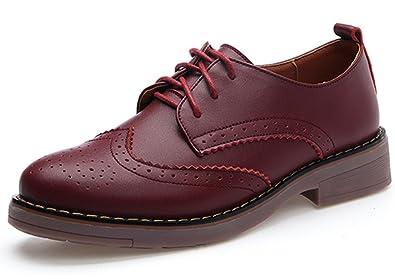 DADAWEN Damen Oxfords Schuhe Mädchen Schnürhalbschuhe Plateau Pumps ydbMHSCD