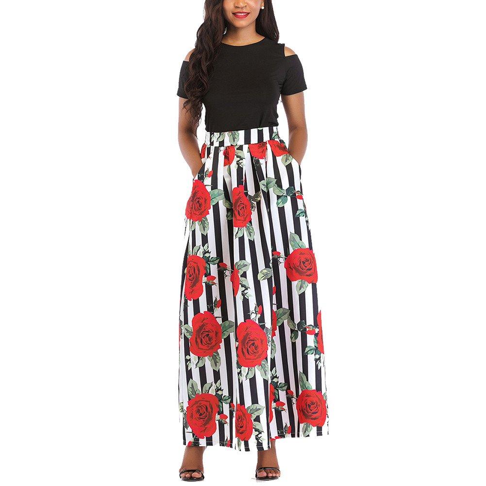 iBaste Talla Grande Retro Largo Vestido Elegante Mujer Estampado Rosa 2 Piezas Falda Fuera del Hombro Dress: Amazon.es: Ropa y accesorios