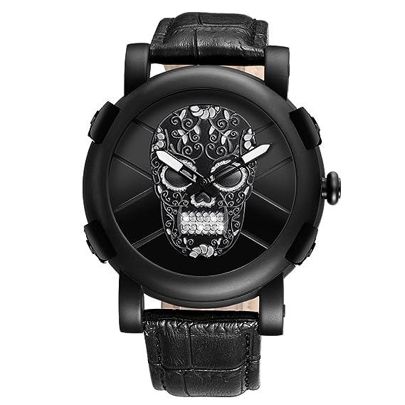 Astarsport - Reloj de pulsera de cuarzo para hombre, diseño de calavera pirata con diamantes de imitación, correa de piel impermeable: Amazon.es: Relojes