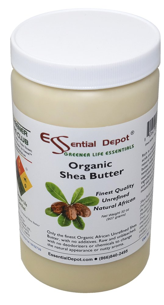 Shea Butter - 32 Oz. - 2 lbs - Organic - Premium Unrefined - In resealable HDPE Jar Essential Depot SHEA-IU-32OZ-POT