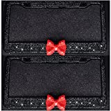 red and black license plate frame - Bling Bling License Plate Frames -8 Row Pure Handmade Waterproof Glitter Rhinestones Crystal License Frames plate for Cars with 2 Holes with Screws Caps Set (2-Pack Red Bow)
