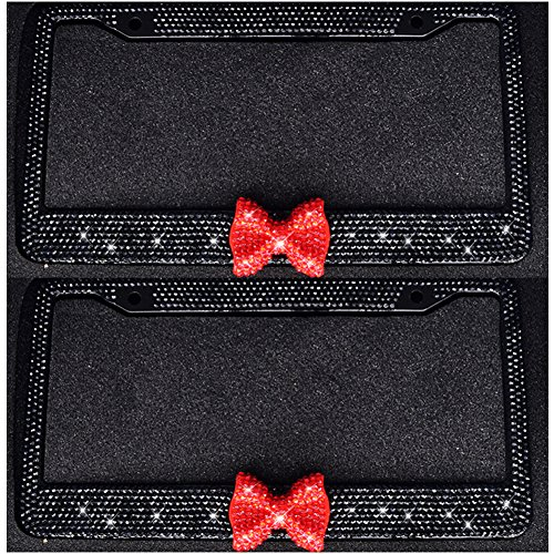 Bling Bling License Plate Frames -8 Row Pure Handmade Waterproof Glitter Rhinestones Crystal License Frames plate for Cars with 2 Holes with Screws Caps Set (2-Pack Red Bow) (Plate Bow License)