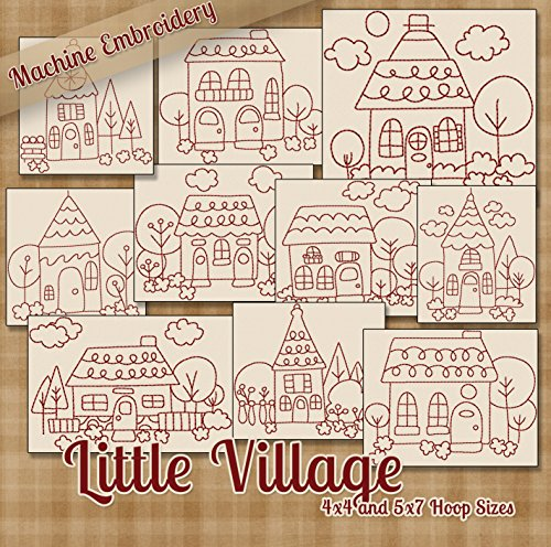 Little Village Redwork Embroidery Machine Designs on CD - Multiformat