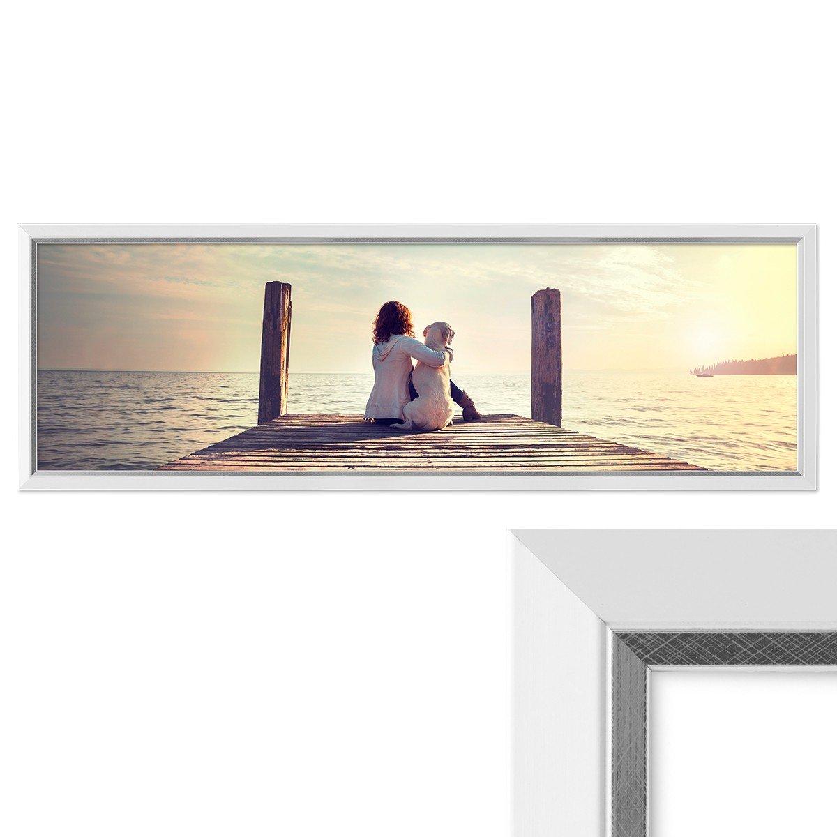 PHOTOLINI Panorama-Bilderrahmen 30x90 cm Weiss Modern mit ...