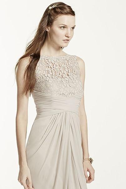 9db9f6cbc59 Amazon.com  Sleeveless Long Mesh Bridesmaid Dress with Corded Lace Style  F15749  Clothing