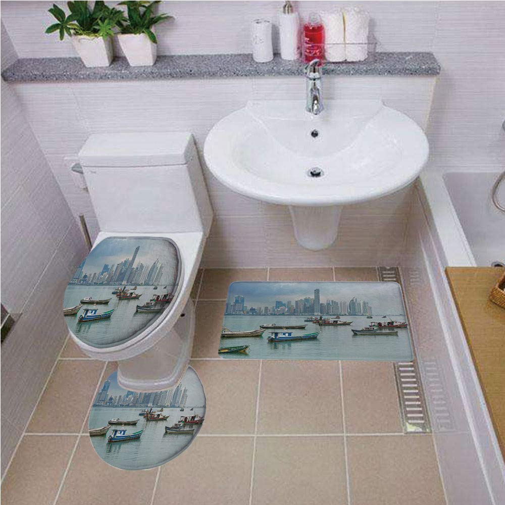 Bath mat Set Round-Shaped Toilet Mat Area Rug Toilet Lid Covers 3PCS,Landscape,Anchored Fishing Boats Skyscrapers Panama Cityscape Pacific Coast Central America,Multicolor,Printed Rug Set