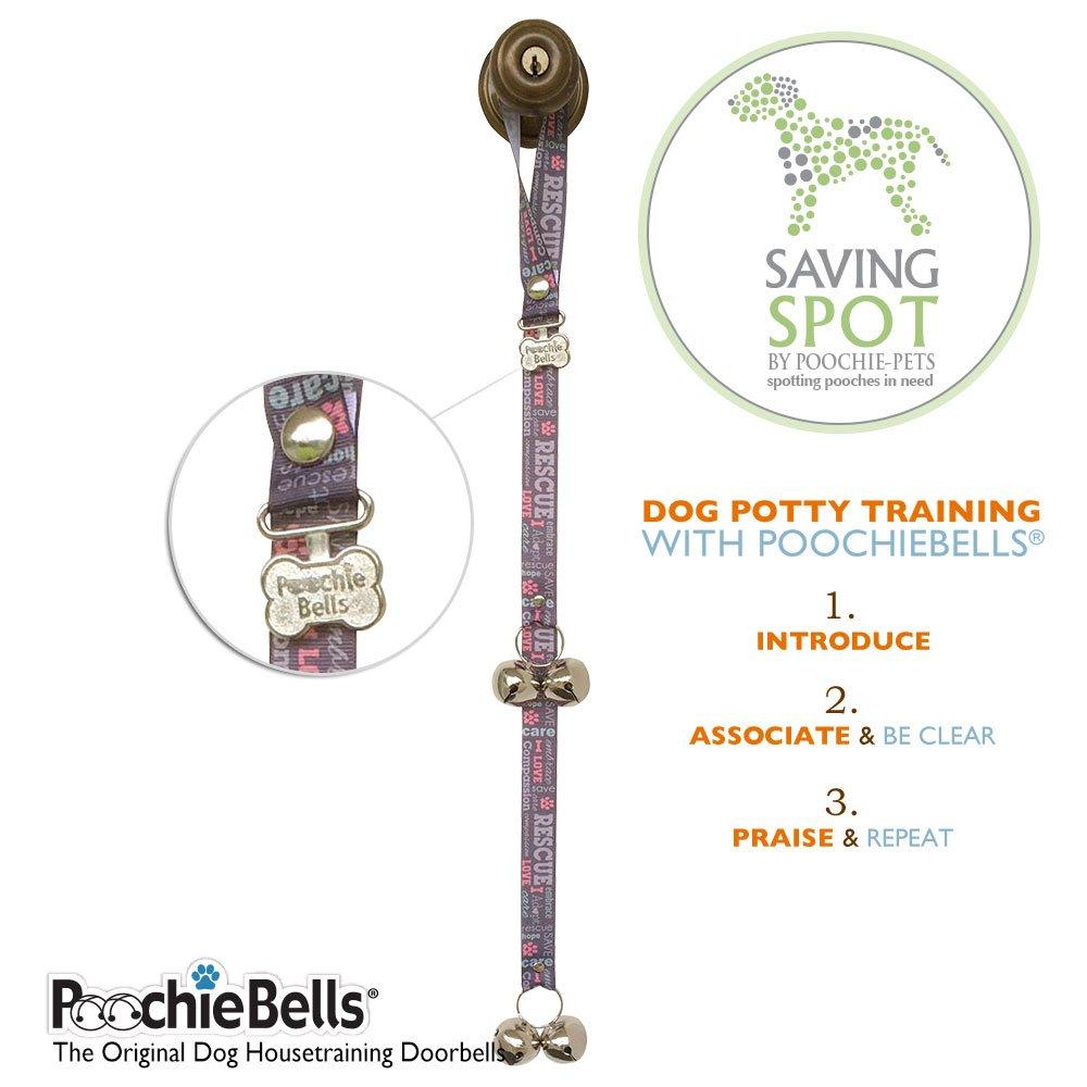 PoochieBells Authentic Saving Spot Rescue & Adopt Program Classic Housetraining Dog Doorbells - Purple/Grey