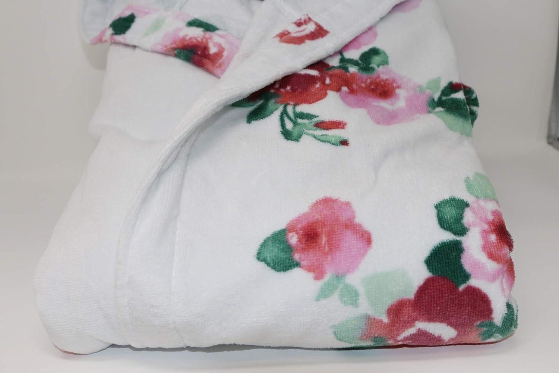 Pretti Accappatoio Corto con Cappuccio per Donna Cotone idrofilo Stampa reattiva Art Bianco 100, S Bouquet