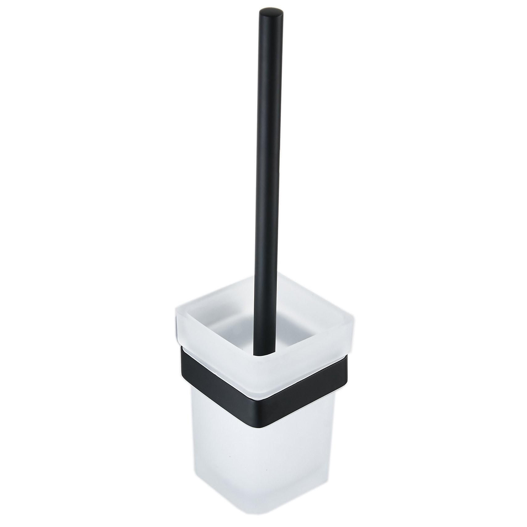 Hiendure Toilet Brushed and Holder, Bathroom Sets with Frosted Glass Toilet Bowl and Stainless Steel Toilet Brush Handle Wall Mounted Black Painting