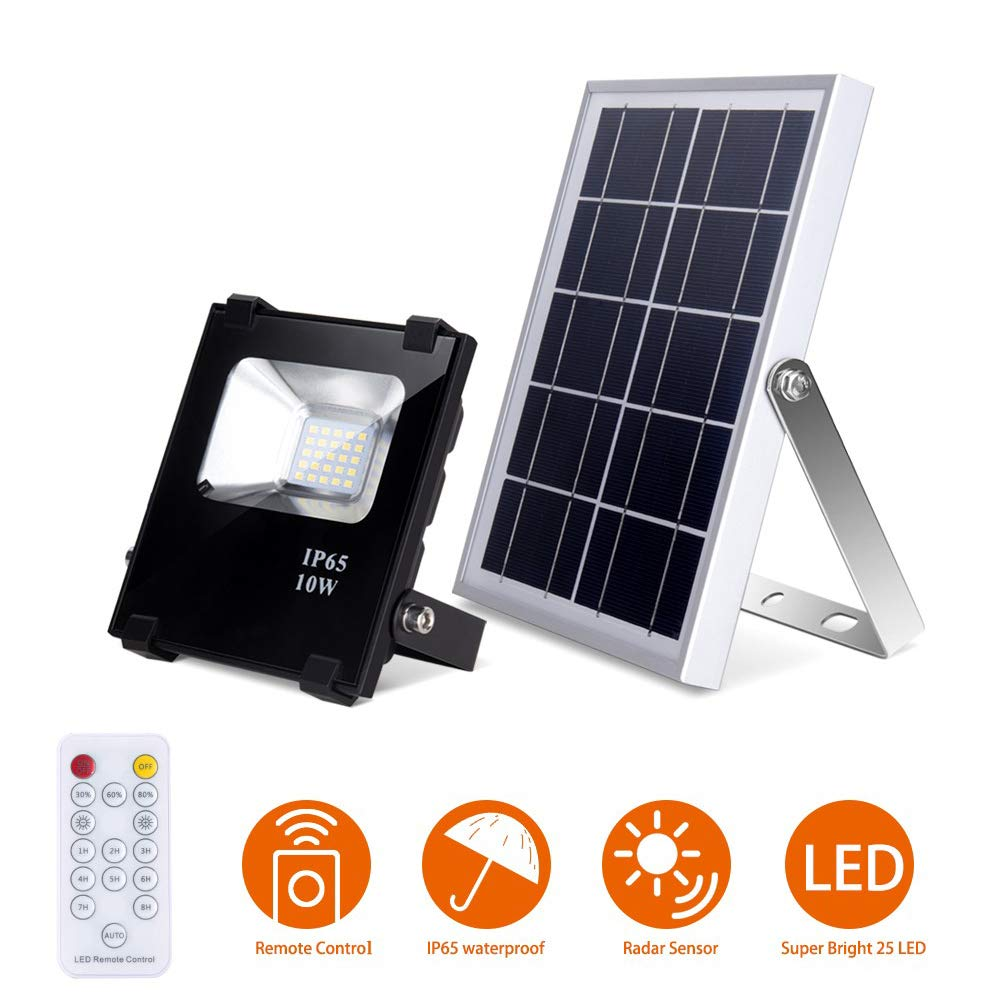 Solar Flood Lights with Remote Outdoor Led Solar Light 10W 500LM 25 LEDs IP65 Waterproof Solar Security Lights Dusk to Dawn Solar Remote Control Lights for Yard, Garden, Patio,Lawn,Flag Pole