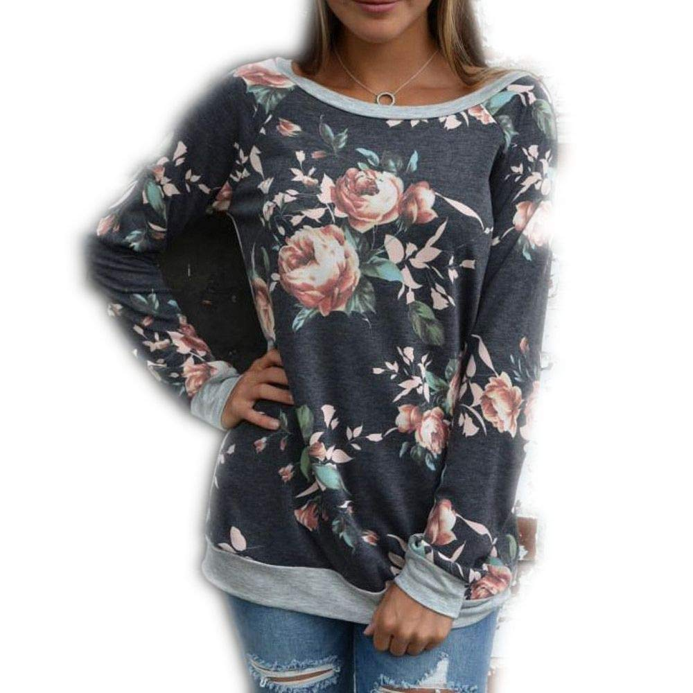 VANSOON Womens Tops Sweaters Casual Floral Splicing O-Neck T-Shirt Blouse Sweatshirt Long Sleeve Pullover Cardigan Tunic