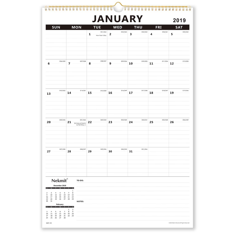 Nekmit Large 2019 Monthly Wall Calendar 15-1/2''x 22-3/4'', 2019 Large Size, Wirebound, Black