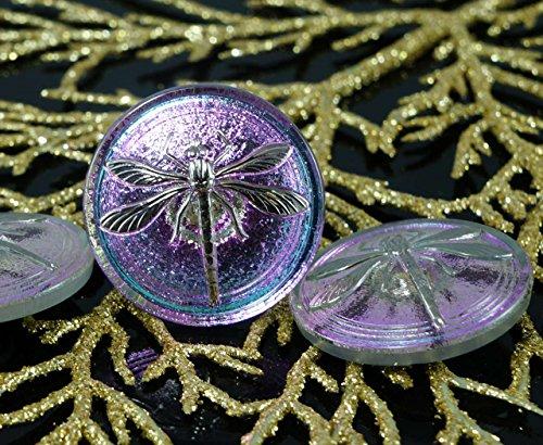 Handmade Glass Buttons - Handmade Czech Glass Buttons Large Silver Dragonfly Light Dichroic Vitrail Purple Size 14, 31.5mm 1pc