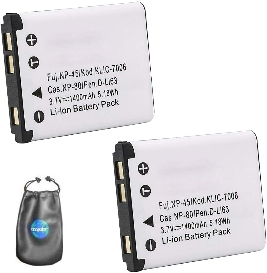 ValuePack (2 Count): Digital Replacement Camera and Camcorder Battery for Olympus LI40B, LI42B, GE-GB10 - Includes Lens Pouch