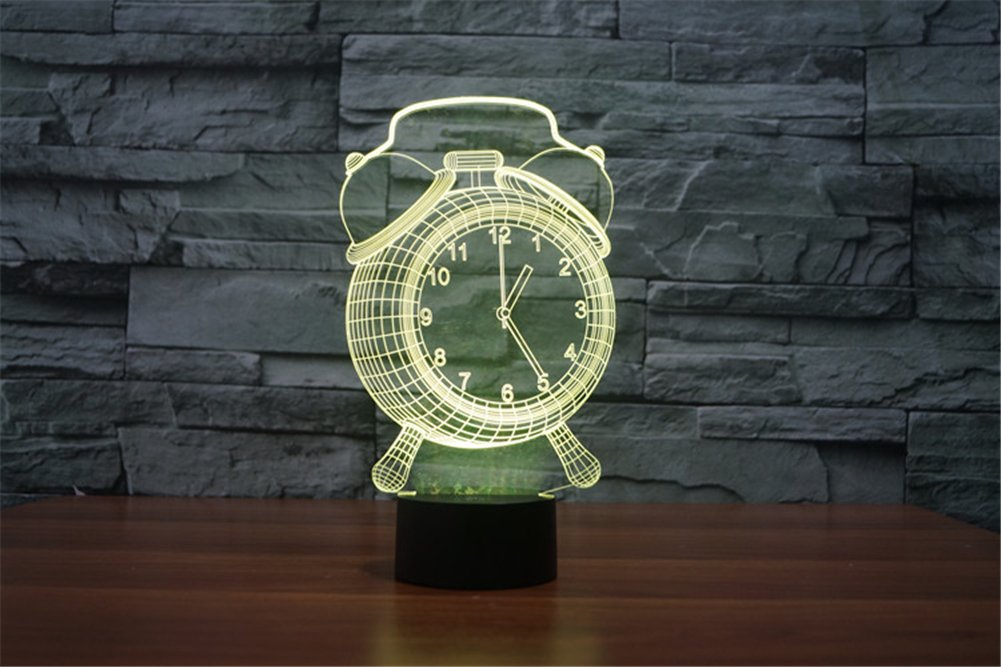 ATD® Clock 7 Color Changing LED Touch Desk Lamp Night Light,3D Optical Illusion Alarm Clock Baby Children Kids Bedside Illumination Table Lamp