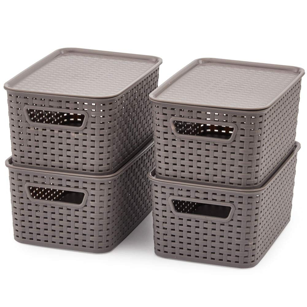 EZOWare Small Plastic Containers with Lid, Lidded Stackable Knit Shelf Storage Baskets Perfect for Storing Small Household Items - Gray, Pack of 4 (11 x 7.3 x 5.1 inch)