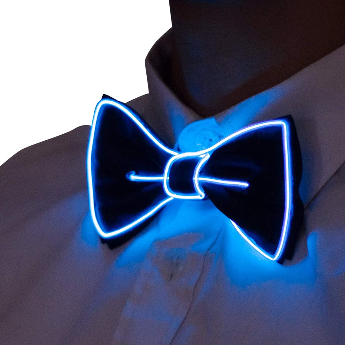 Manmon Luminous Bow Tie Novelty Adjustable EL Wire LED Light Up Glowing Bowtie Neon Nightlife Light Up Bow Tie