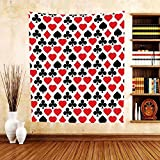 Gzhihine Custom tapestry Casino Decorations Collection Card Suits Pattern With Clubs Diamonds Hearts Spades Poker Gamble Theme Bedroom Living Room Dorm Tapestry