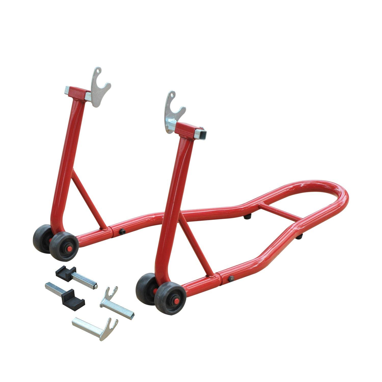 Homcom Support b/équille de Moto arri/ère l/ève Moto arri/ère sur roulettes avec adaptateurs Caoutchouc Rouge et Noir