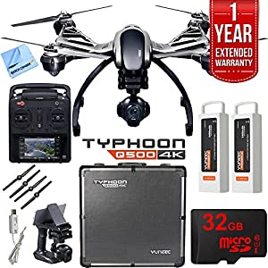 Yuneec Typhoon Q500 4K Quadcopter Drone UHD Ultimate Bundle includes Aluminum Case, Two Batteries, 32GB Card, Microfiber Cloth, and 1 Year Warranty Extension