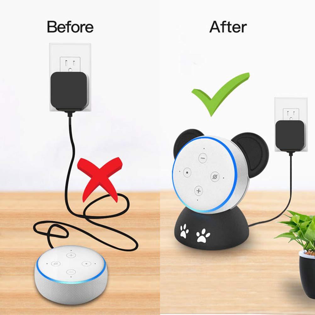 Nero + Bianco HEMOBLLO Supporto da tavolo Smart Speaker Custodia protettiva Accessori per altoparlanti Carino Panda Shape For Echo dot 3