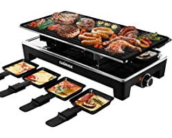CUSIMAX Raclette Grill Electric Grill Table, Portable 2 in 1 Korean BBQ Grill Indoor & Cheese Ractlette, Reversible Non-stick