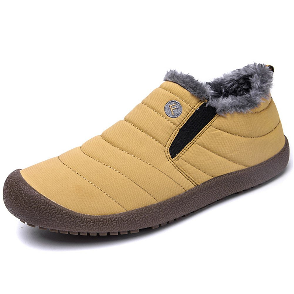 Low Top-Yellow WateLves Mens Womens Snow Boots Winter Anti-Slip Ankle Booties Outdoor Slippers Slip On with Warm Fully Fur Lined