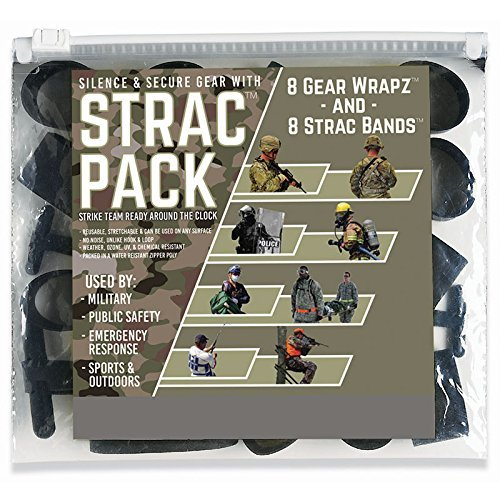 Alliance Sterling STRAC (Strike Team Ready Around the Clock) Combo Pack, 16 Bands Total Including 8 STRAC Black EPDM Rubberbands and 8 Black EPDM Gear Wrapz in Zip Close Poly Pouch - 7812 07812