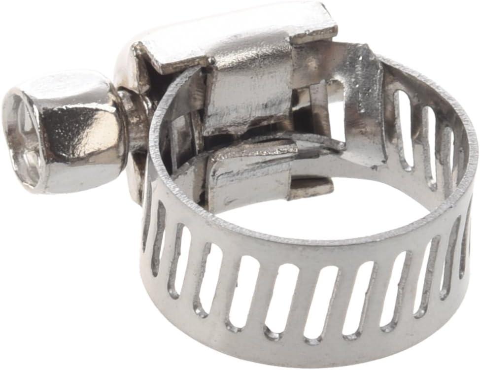 Glossia Abrazaderas de manguera de juntas de agua 6-12mm aro Tono de plata 10 piezas