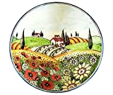 italian pasta bowls made in italy - CERAMICHE D'ARTE PARRINI - Italian Ceramic Hand Painted Bowl Serving Landscape Poppies Made in ITALY Tuscan Art Pottery